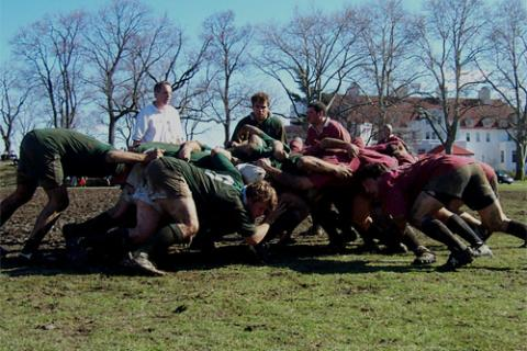 DRFC scrum vs. Harvard at the Ivy Championships hosted by New York Athletic Club, Pelham, NY.
